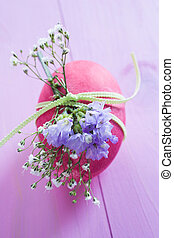 Pink ester egg - Pink Easter egg wrapped with corn with...