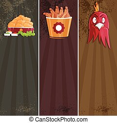 fried chicken fast food vector banners