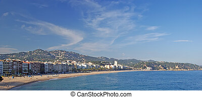 Panoramic view of Lloret de Mar village Costa Brava, Spain