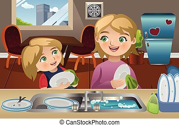 Mother Daughter Washing Dishes