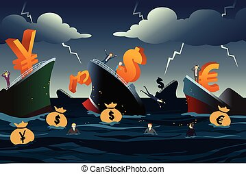 Economic Crisis Concept - A vector illustration of economic...