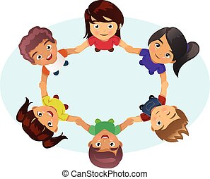 Multi-ethnic Kids Holding Hands - A vector illustration of...
