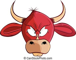 cartoon bull head vector illustration