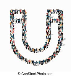 group people shape magnet - A large group of people in the...