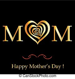 Happy Mother's day card in gold