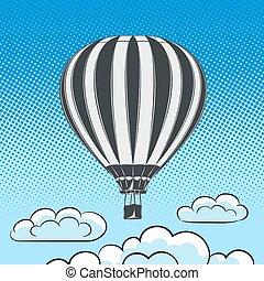 aircraft retro style pop art air - air balloon, aircraft in...
