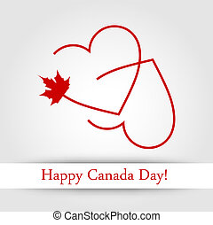Happy Canada Day card - Love for Canada card with maple leaf...