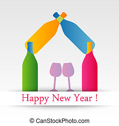 Colorful happy new year card with text
