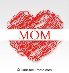 Card for MOM on a red scribbled hea