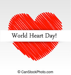 World Heart Day graphic with a scribbled red heart