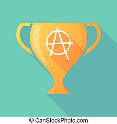 Long shadow trophy icon with an anarchy sign - Illustration...