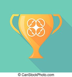Long shadow trophy icon with a drone - Illustration of a...