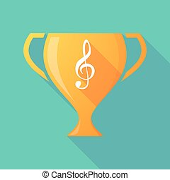 Long shadow trophy icon with a g clef - Illustration of a...