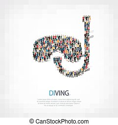 group  people  shape  diving