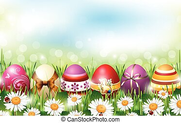 Easter Background - Easter background with colorful eggs...