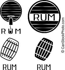 vintage labels set with barrels of rum