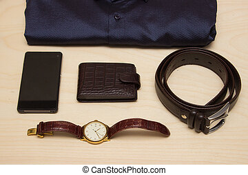 Men's clothes style accessories, flat lay
