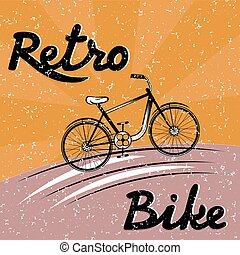 grunge retro vector illustration of  bicycle