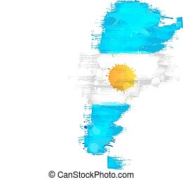 Grunge map of Argentina with Argentinian flag