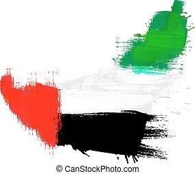 Grunge map of United Arab Emirates with UAE flag