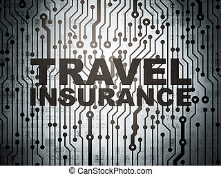 Insurance concept: circuit board with Travel Insurance -...