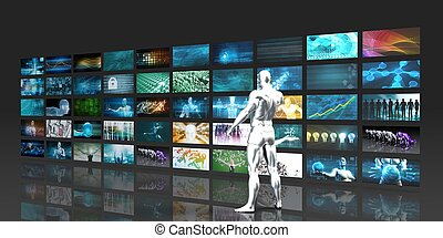Man Looking into Video Wall Screens in 3d