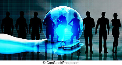 Global Business Team with Hand Holding Globe as Concept