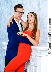 passionate couple - Gorgeous couple of young people stand in...