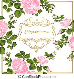 Luxurious vintage card of pink roses with gold calligraphy....