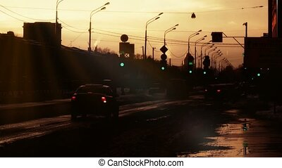 St. Petersburg Russia sunset road. Backlit. - St. Petersburg...