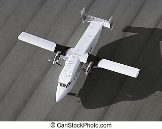 Top view of single engine airplane