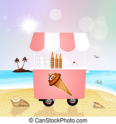ice cream cart on the beach