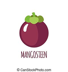 Mangosteen icon in flat style on white background -...
