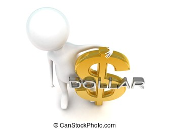 3d man presenting  dollar sign concept