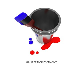 3d paint brush and bucket concept