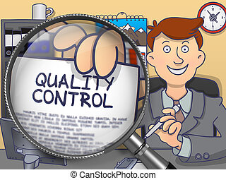 Quality Control through Lens. Doodle Concept.