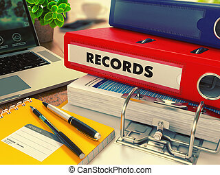 Red Office Folder with Inscription Records. - Red Office...