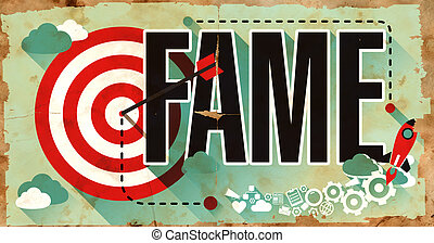 Fame on Grunge Poster - Fame Concept Poster on Old Paper in...