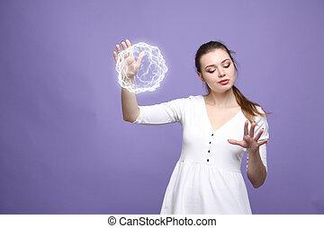 エネルギー, 女, 魔法, ボール, 白熱