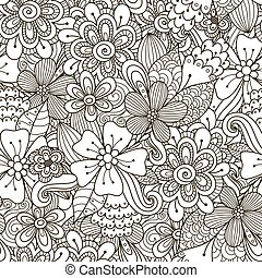 Floral doodle black and white seamless pattern. Great for...