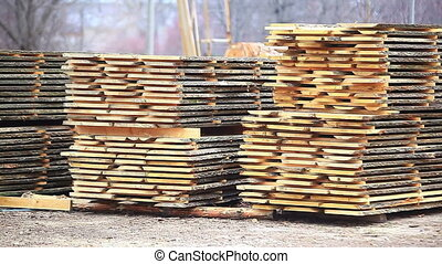 stack timber warehouse wood industry