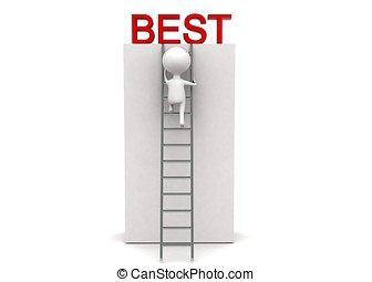 3d man climbing up using ladder to reach best concept in...