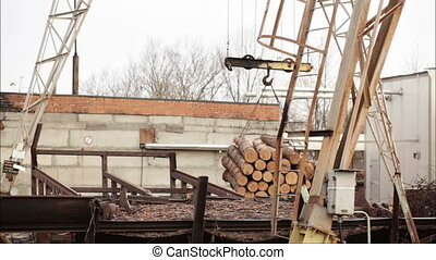 crane to lift logs video industry