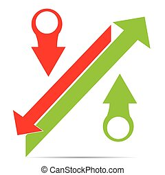 Profit - Group of arrows making a percentual symbol on a...