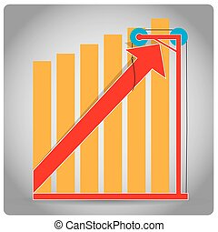 Profit - Grey background with a profit graph, bars and an...