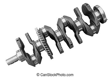Engine crankshaft on a white background - Internal...