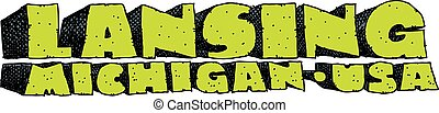 Lansing, Michigan Text - Heavy cartoon text of the name of...