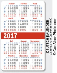 German pocket calendar for 2017, standard size ISO 7810...