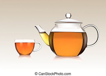 Cup and teapot of green tea