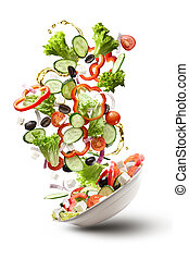 flying salad isloated on white - flying salad isolated on...